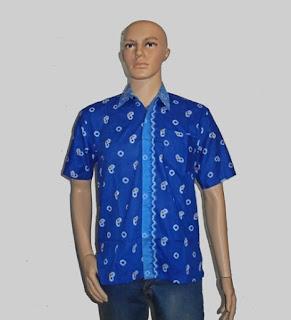 Baju Batik Pria, Hem Batik Jumputan Biru