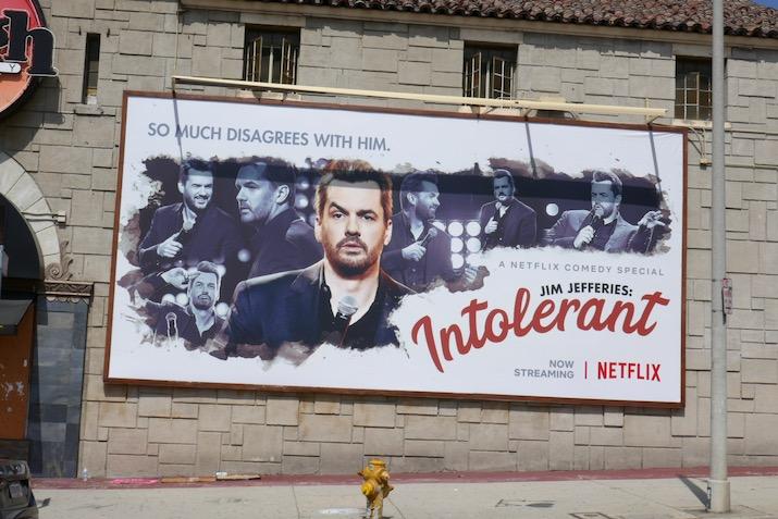 Jim Jefferies Intolerant Netflix special billboard