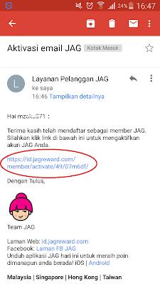 Verifikasi Email dari Aplikasi JAG Android