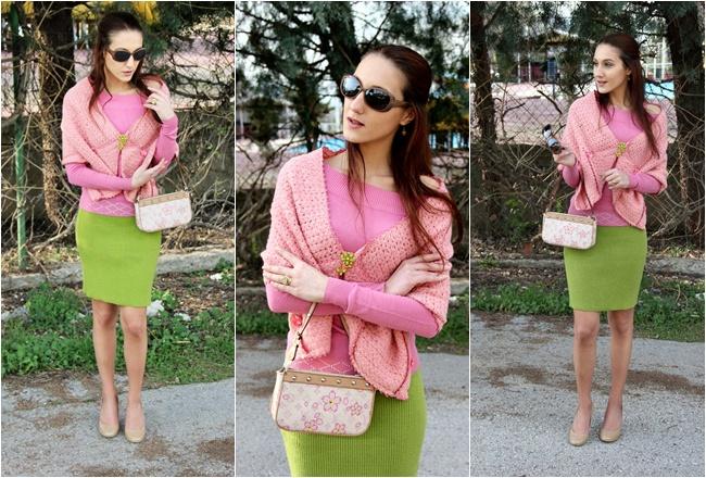 najbolje zeleno roze pink odevne kombinacije za prolece