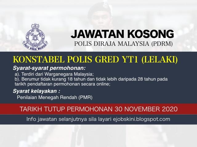 Jawatan Kosong Konstabel Polis Gred YT1 (Lelaki) PDRM November 2020
