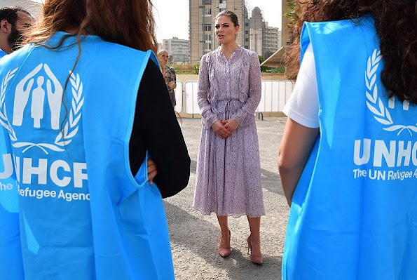 On the last day of her visit to Lebanon, Crown Princess Victoria wore a long dress by Zadig&Voltaire, which she had worn before