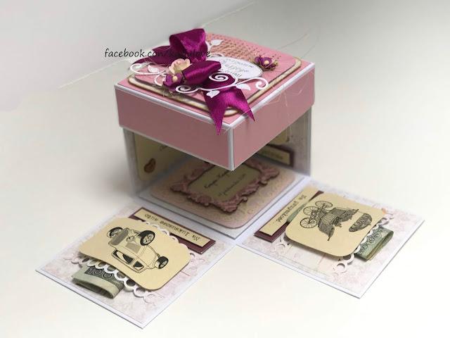 exploding box na ślub w różowe paski