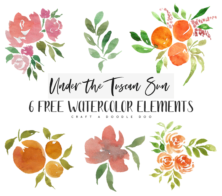 Under the Tuscan Sun Free Watercolor Clipart from Craft A Doodle Doo #free #watercolor #clipart #florals #fruits #printables
