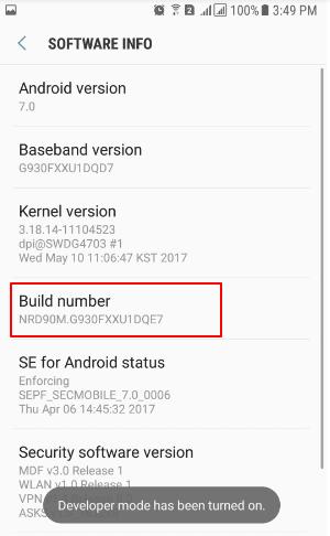 """Buka pengaturan pada hp android kalian, lalu masuk ke bagian menu """"About"""" lalu cari bagian """"Build Number"""" biasanya terletak pada bagian """"Software Info"""", pada bagian ini ketuk beberapa kali secara terus menerus hingga muncul pop up dibagian bawah """"Developer Mode Has Been Turned On""""."""