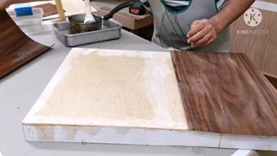 تثبيت قشرة الخشب على قطعة الخشب السميكة بإستخدام غراء الجيلاتين