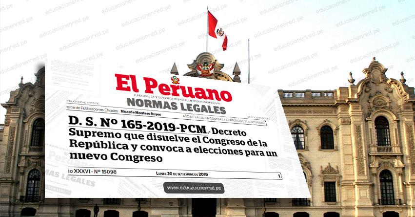 YA ES OFICIAL: Convocan a Elecciones Congresales para el 26 de Enero de 2020, tras cierre del Congreso de la República (D. S. Nº 165-2019-PCM)