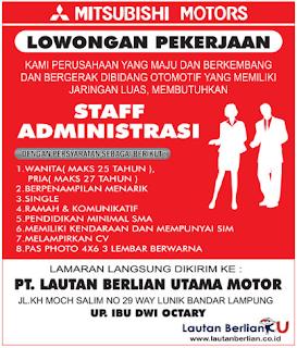 Kesempatan Bergabung Bersama Mitsubishi Motors Bandar Lampung Terbaru Maret 2018