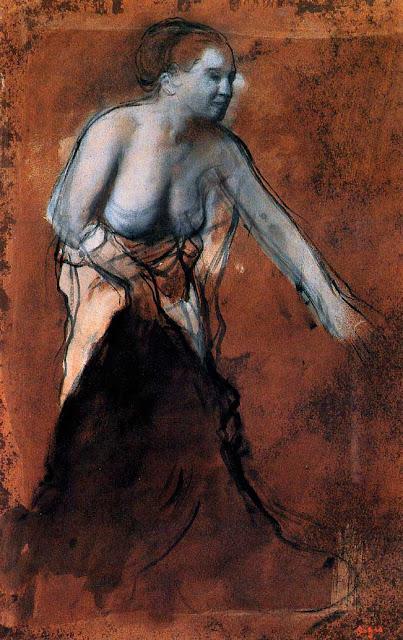 Эдгар Дега - Стоящая женщина с обнажённым торсом (1866-1868)