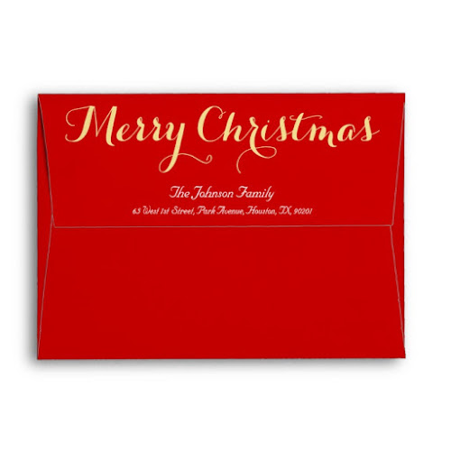 Elegant Gold White Red Christmas Holiday Mailing Envelope