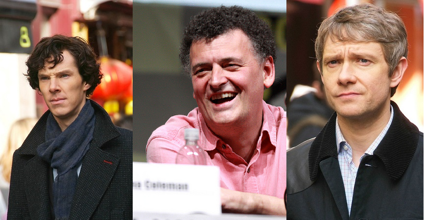 Emmy winners all: Cumberbatch, Moffat and Freeman for Sherlock