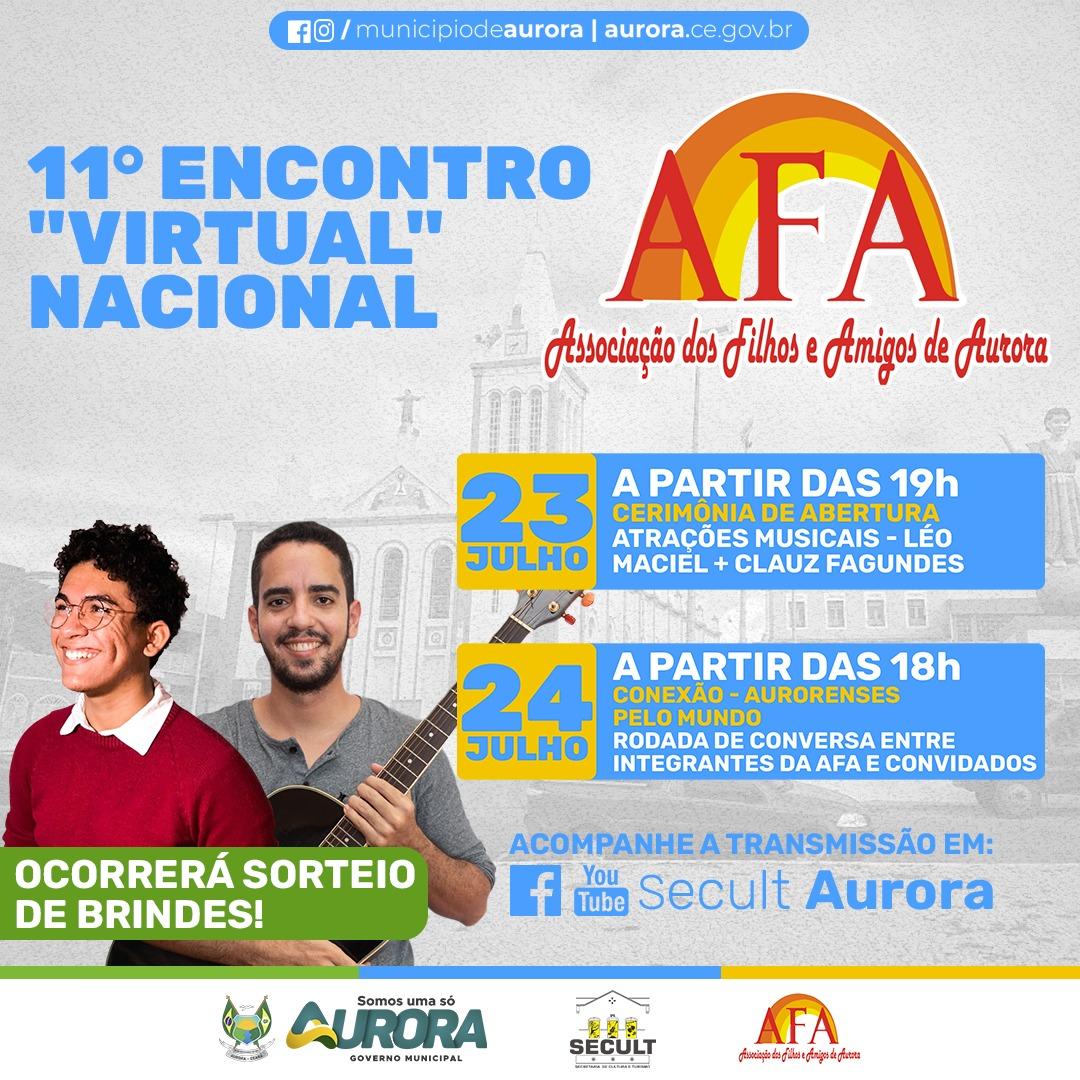 11º Encontro Nacional dos Filhos e Amigos de Aurora será realizado de forma on-line