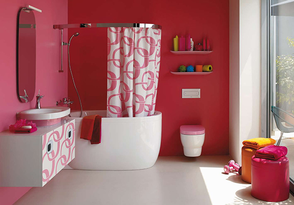 Image result for kamar mandi dengan tirai warna