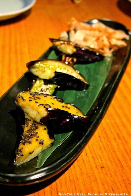 Sanshoku Nasu Dengaku: Grilled Japanese Eggplants Served with Three Kinds of Miso (Eggyolk, Spinach, and Sweet Red) at Sakagura