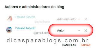 convidar pessoas para ser autor do blog