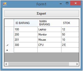 Cara Export Data Datagridview ke Microsoft Excel pada VB.Net