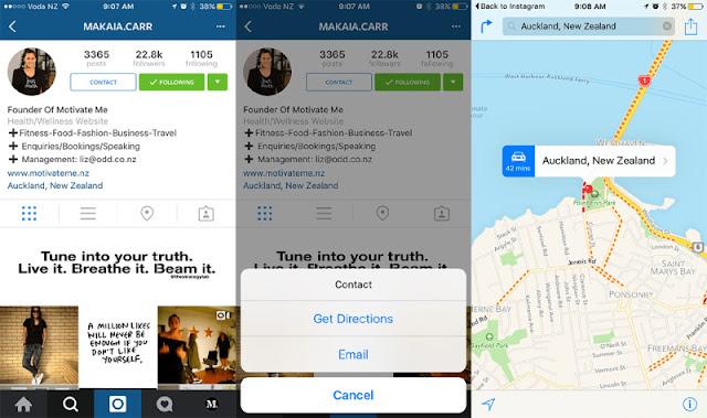 La schermata di Instagram con le opzioni di un profilo business