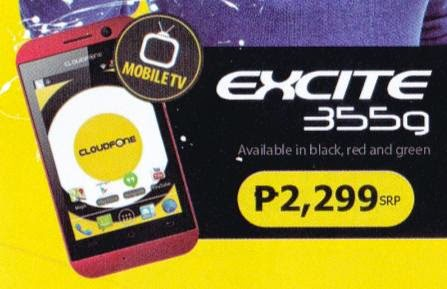 Cloudfone Excite 355G, Dual Core Mobile TV for Php2,299