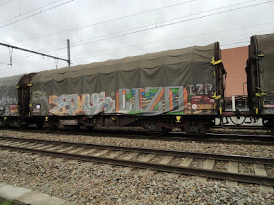 Train et graffiti le long des voies