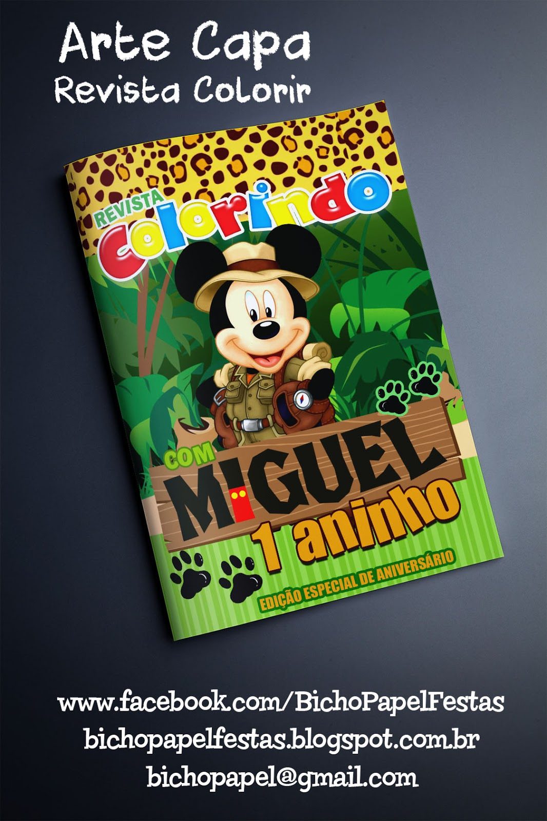 Bicho Papel Arte Capa Revista Colorir Mickey Safari