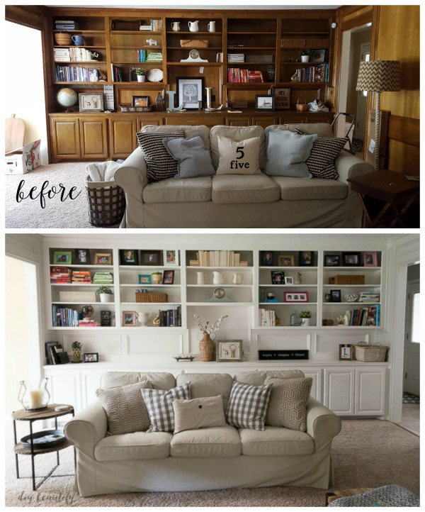 Before And After Painted Paneling And Bookcases