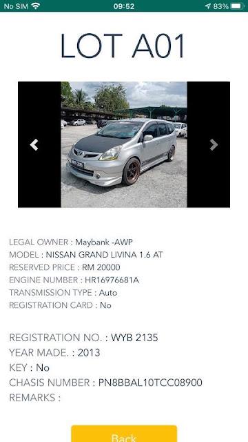 Nissan Grand Livina 1.6 AT tahun 2013 harga lelong RM20 ribu