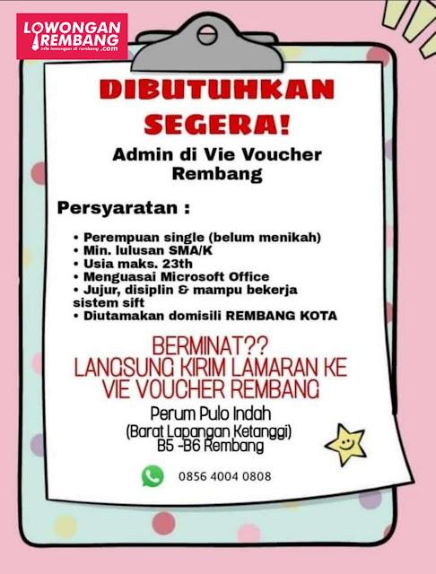 Lowongan Kerja Karyawati Admin Vie Voucher Rembang