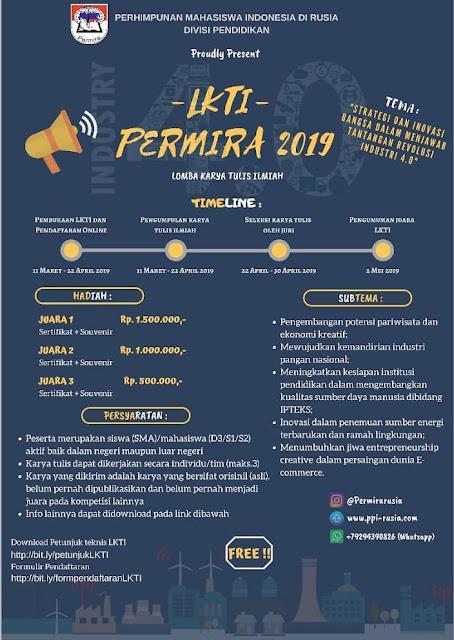 Lomba Karya Tulis Ilmiah Nasional PERMIRA 2019 SMA Sederajat/Mahasiswa Gratis