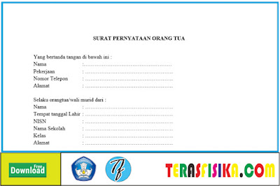 Surat Ijin Orang Tua Untuk siswa Masuk Sekolah