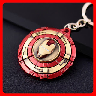Iron Man Shield Spinning Keychain Pendant Keyring