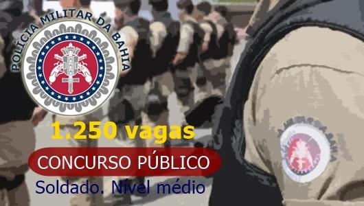 Saiu edital PMBA com 1.250 vagas de soldado. Nível médio!