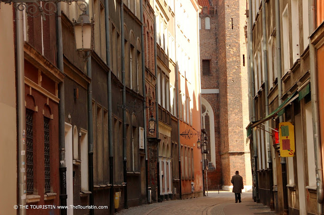 Travel Poland. In the Shadow of St Mary's Church. Gdansk, Poland