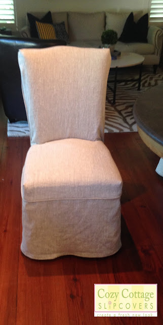 Parsons Chairs With Skirt Memory Foam Chair Cozy Cottage Slipcovers: Rustic Linen Slipcovers