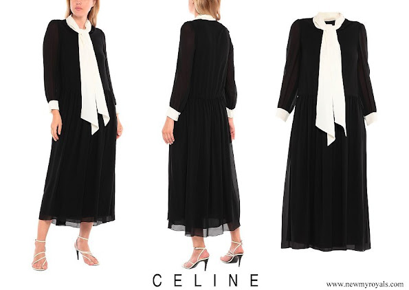 Princess Charlene wore CELINE crepe frills two-tone bow collar long dress