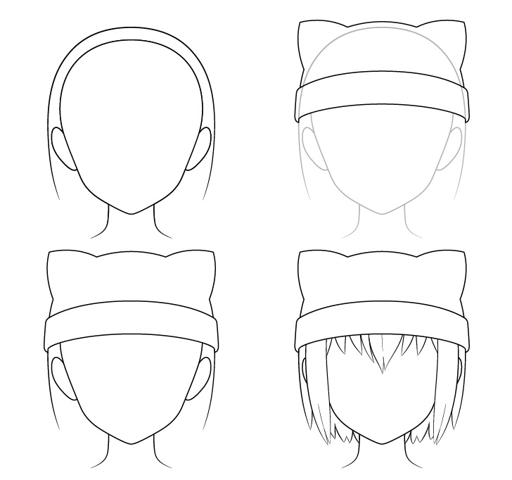 Anime topi telinga kucing menggambar langkah demi langkah