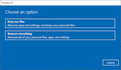 Option Untuk Reset Windows 10