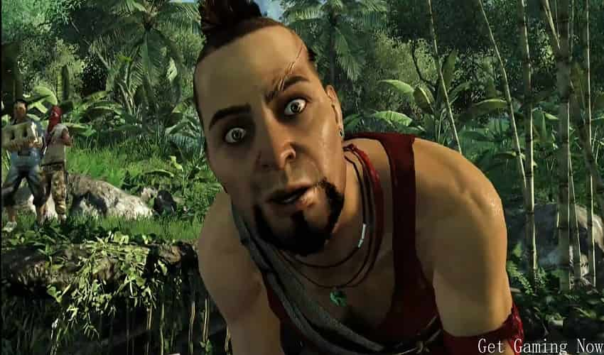 Vaas Montenegro character with red Shirt in the jungle of far cry 3