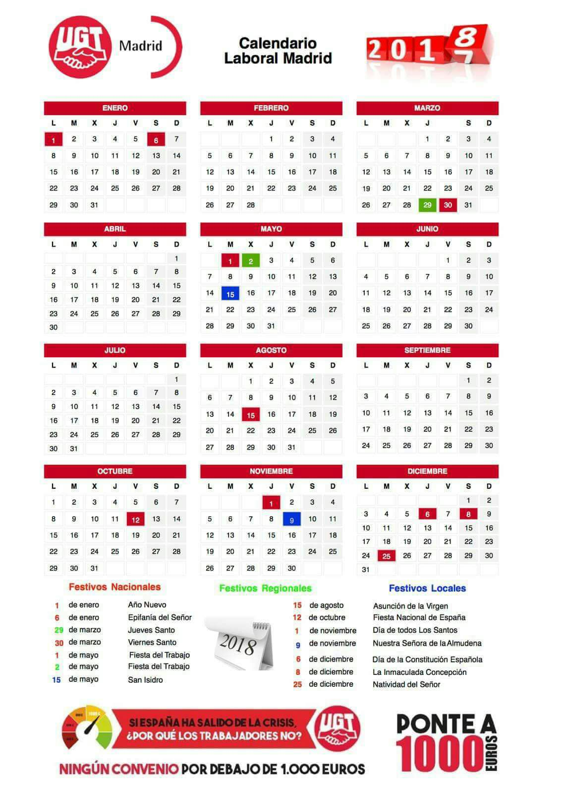 CALENDARIO LABORAL 2018 COMUNIDAD DE MADRID (imprimible)