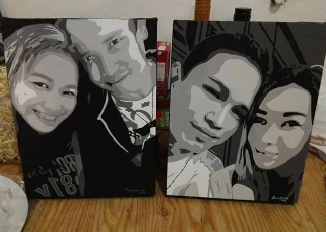 Acrylic on canvas portrait Valentines Day