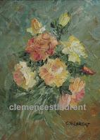 Lever de soleil, gerbe de roses jaunes et pêche à l'huile, 8 x 6, par Clémence St-Laurent