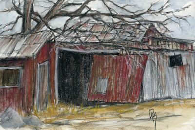 art sketch barn charcoal rural abandoned