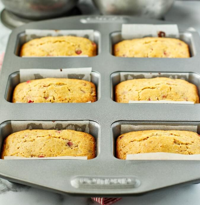 Mandarin Orange and Rhubarb Mini Loaves in pan