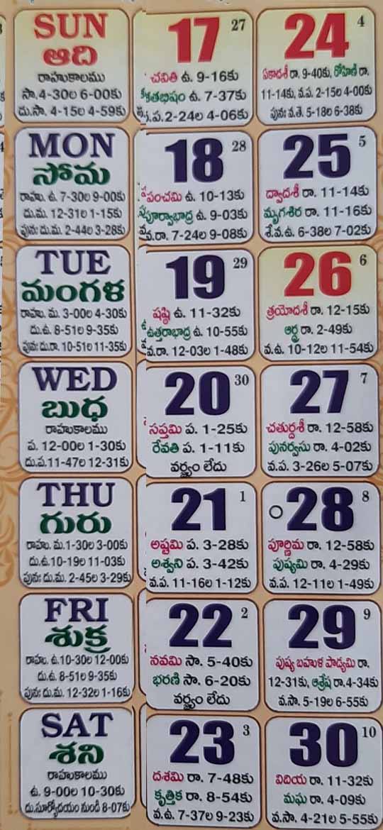 2021 January Telugu Calendar