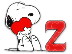 Abecedario de Snoopy Abrazando un Corazón. Snoopy with Heart Abc.