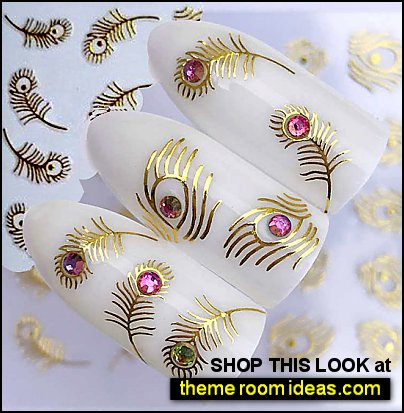 Peacock Feather Nail Stickers peacock Gold Nail Stickers gold feather peacock Nail Art peacock Nail Decals