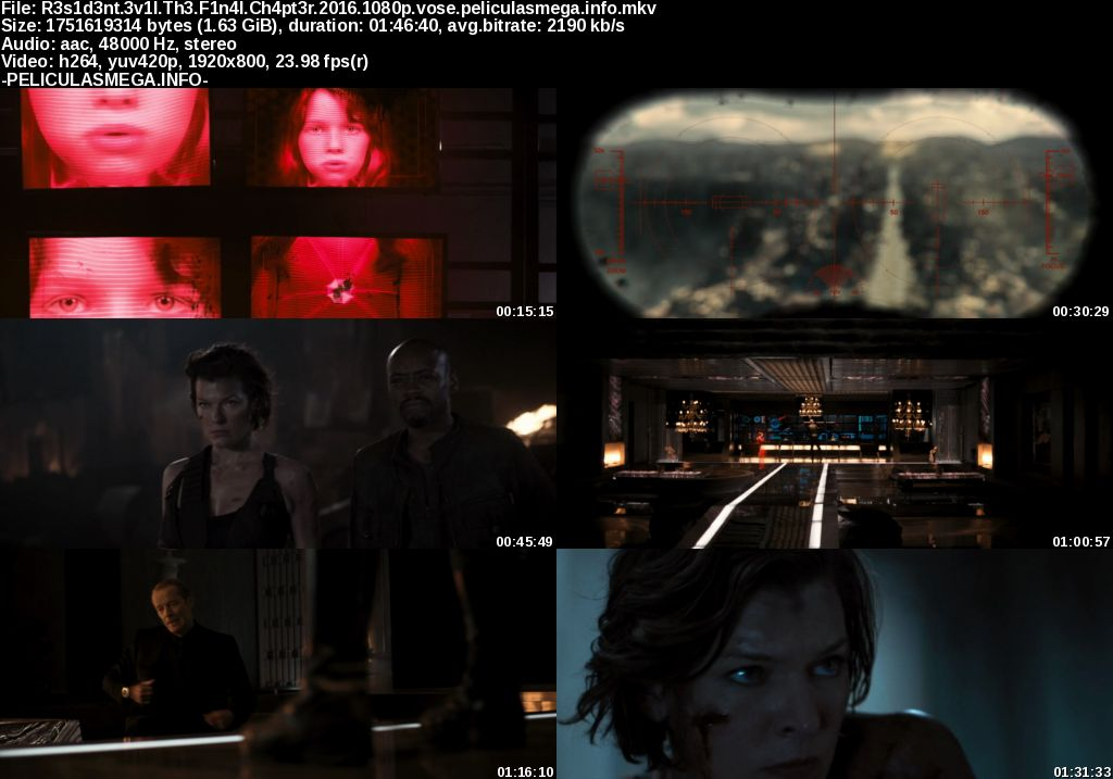 Descargar Resident Evil: The Final Chapter Subtitulado por MEGA.