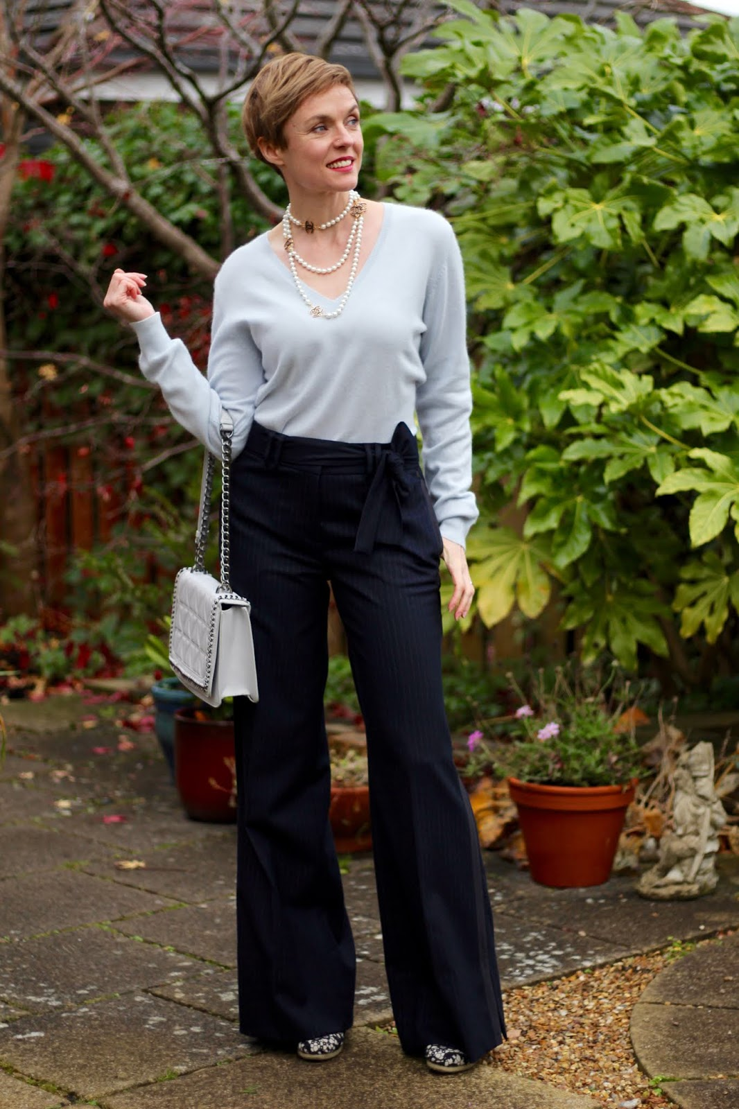 Navy Wool Man Trousers and Ice Blue Cashmere | Work Outfit | Fake Fabulous