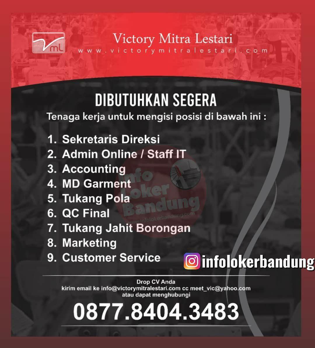 Lowongan Kerja CV. Victory Mitra Lestari Bandung Oktober 2019