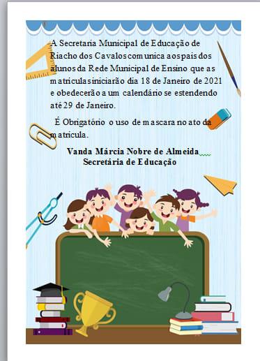 Matriculas na Rede Municipal de Ensino em Riacho dos Cavalos começam dia 18 de Janeiro