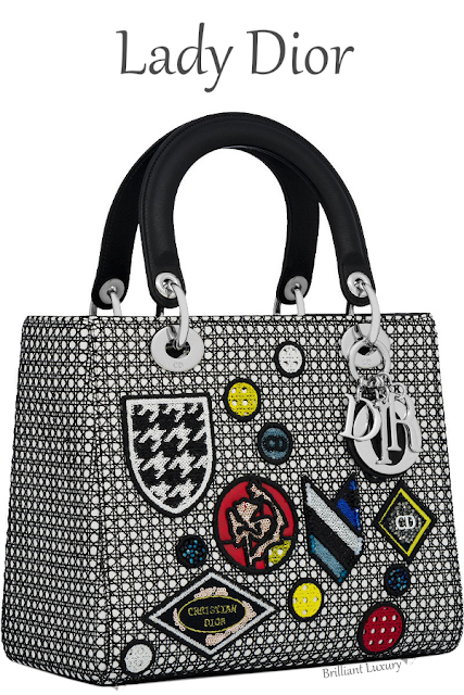 Lady Dior bag in white cannage lambskin with black mesh and badges #brilliantluxury